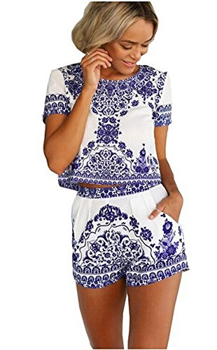 Women's China Blue and white porcelain Print Casual T-shirt Top and Short 2 Piece Set Summer Beach Jumpsuit (Small)