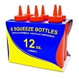 New Star Foodservice 26313 Plastic Squeeze Bottle, 12-Ounce, Red, Set of 6