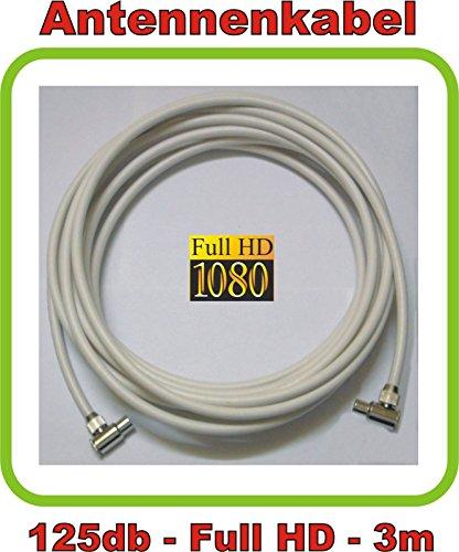 3m Antennenkabel/TV Kabel Premium-Line 125db - 5fach geschirmt - Full HD und 3D