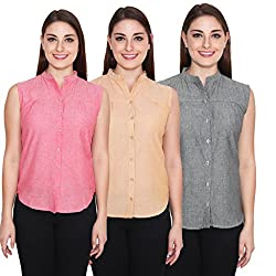 Numbrave Women Sleevless Cotton Multicolors Solid Shirt (Pack of 3)