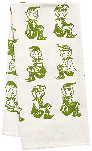Artgoodies Elves All Over Pattern Organic Block Print Tea Towel