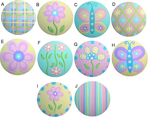 Colorful Butterfly Flower Garden Mix Hand Painted Decorative Girl Nursery Baby Kids Dresser Drawer Knobs Pulls Choose Your Designs (SINGLE KNOB) (Pastel Drawer Knobs compare prices)