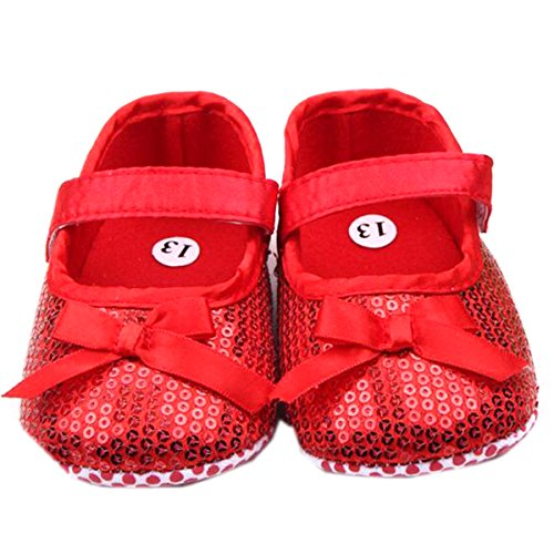 M2cbridge Baby Girl's Bow Dress Shoe Infant Toddler Pre-walker Crib Shoe (12-18 Months, Red sequins)