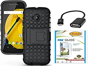 Tidel Hybrid Military Grade Armor Kick Stand Back Cover Case for Motorola Moto E2 2nd Genaration (Black) With Tidel 2.5D Tempered Glass & Micro OTG Cable