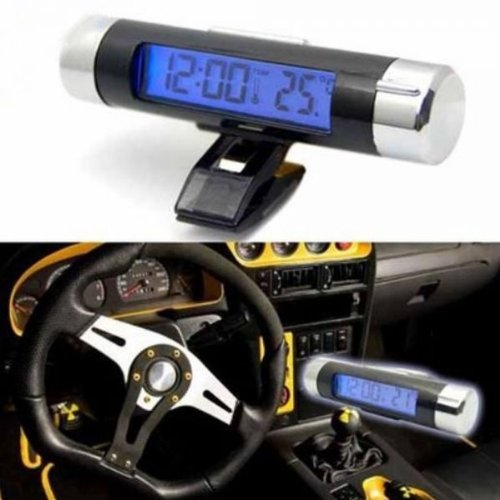 Hooshion Car Air Vent Backlight Clip-On Stick Electronic Clock Thermometer Digital Lcd Display Gadget