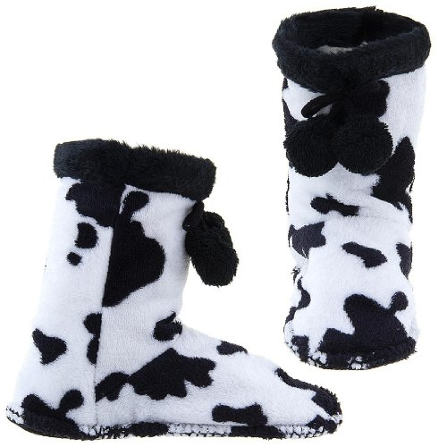 Cheap GMI Snuggle Feet Cow Print Slippers for Women (B009TH2350)