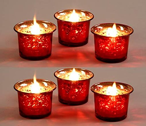 Set of 6 Hosley Metallic Red Glass Candle/Tealight Holder with Free 6 Tealights. Ideal Gift for ...