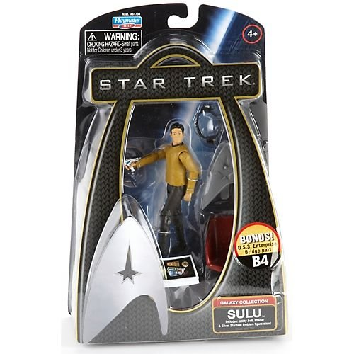 Buy Low Price Playmates Star Trek Movie Series Galaxy Collection 4 Inch Tall Action Figure – SULU with Utility Belt, Phaser and Silver Starfleet Emblem Figure Stand Plus Bonus U.S.S Enterprise Bridge Part B4 (B003H1CAWU)