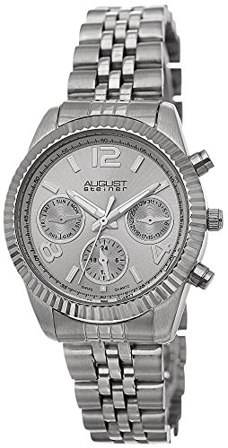 August Steiner Women's Swiss Quartz Multifunction Silver-tone Stainless Steel Bracelet Watch