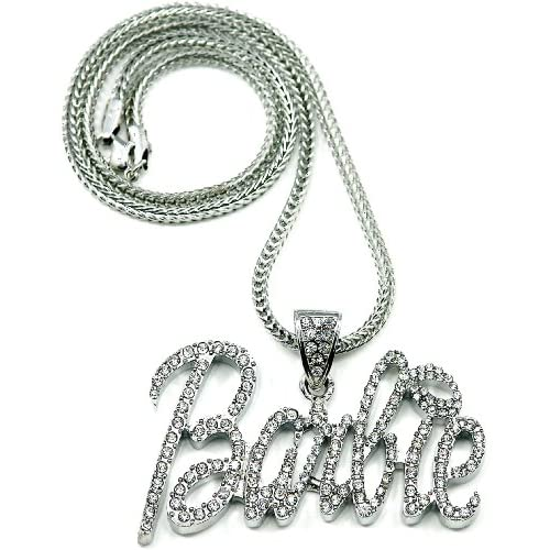 Nicki Minaj Barbie Iced Out Pendant Necklace Silver With Silver Lips