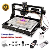 2-in-1 5500mw Laser Engraver CNC 3018 Pro Engraving Machine, GRBL Control 3 Axis Mini CNC Router Kit + Offline Controller + Router Bits, Working Area 300x180x45mm, for Wood Plastic PVC (Tamaño: 3018 PRO + 5500mw Laser)
