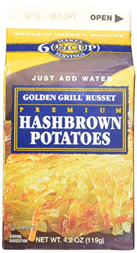 Golden Grill Russet Hashbrown Potatoes(56 total servings) 8 count pack Net Wt 4.2 oz(119g) per carton (Freeze Dried Hash Browns compare prices)