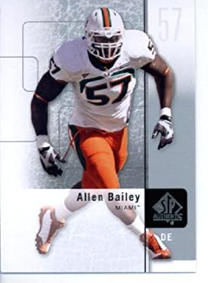 2011 SP Authentic Football Cards #25 Allen Bailey RC - Miami Hurricanes (RC - Rookie Card) Kansas City Chiefs (NFL Trading Card)
