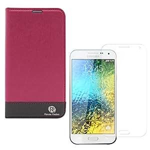 Popular Raiders Magnetic Wallet Flip Folio Stand Book Cover Case For Samsung Galaxy E5 SM-E500 (Pink) + Matte Screen