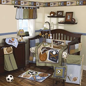 Fresh Sports Fan Piece Baby Crib Bedding Set with Bumper by Cocalo