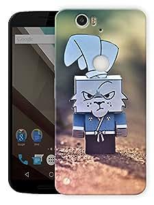 "Cartoon Rabbit Box Printed Designer Mobile Back Cover For ""Google Nexus 6 Plus"" By Humor Gang (3D, Matte Finish, Premium Quality, Protective Snap On Slim Hard Phone Case, Multi Color)"