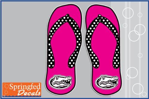 "Florida Gators Pink Gator Head Flip Flops 4"" Vinyl Decals Car Truck Window Uf Stickers"