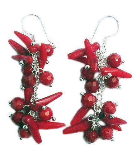 Red Coral Earrings and 925 sterling silver hooks