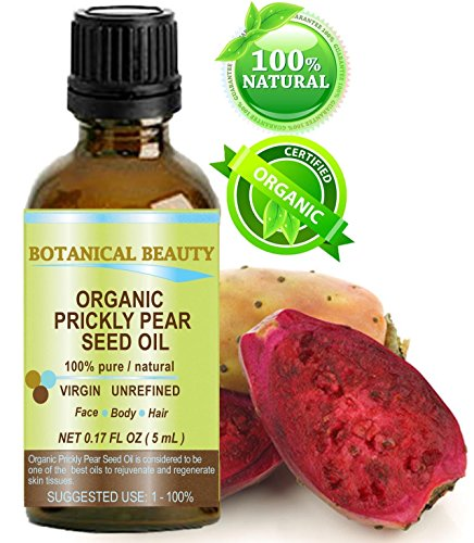PRICKLY PEAR CACTUS SEED OIL ORGANIC. 100% Pure / Natural / Undiluted / Virgin / Unrefined Cold Pressed Carrier oil. 0.17 Fl.oz.- 5 ml. For Skin, Hair, Lip and Nail Care.