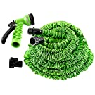 100ft Longest and Strongest Flexible Expandable Magic Garden Hose and 7-pattern Spray Nozzle and Shut-off Valve and Universal Water Hose Connectors , Expands to 3 Times It's Original Length, Shrinking Hose, DAP Xhose,water Garden, Plants, Grass, No Tangle, Twist, Kink, Expands and Contracts, Auto, Car, Boat, Dock, Green (100ft)