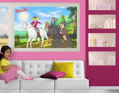 mantiburi fensterbild bibi und tina ausreiten kinderzimmer. Black Bedroom Furniture Sets. Home Design Ideas