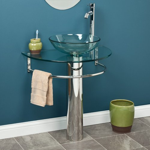Clear Glass U-Shaped Pedestal Sink with Vessel Sink and Towel Bar