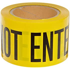 "Brady 91224 200' Length, 3"" Width, B-912 Polyethylene Black On Yellow Color Barricade Tape, Legend ""Caution Do Not Enter"""