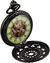 Comprar Alienwork Retro Reloj mecánico de bolsillo esqueleto remonte Metal verde negro WDG005-01