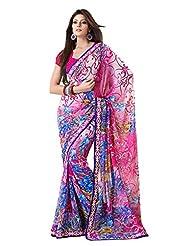 Indian Designer Sari Beautiful Floral Printed Faux Georgette Saree By Triveni - B00NGFCHR0