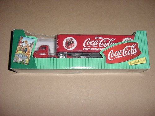 COCA COLA DIE CAST METAL BANK, RED TRUCK TRACTOR AND SEMI TRAILER, WITH