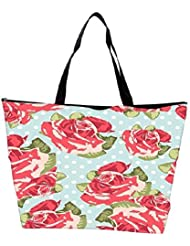 Snoogg Beautiful Seamless Rose Pattern With Blue Polka Dot Background Waterproof Bag Made Of High Strength Nylon