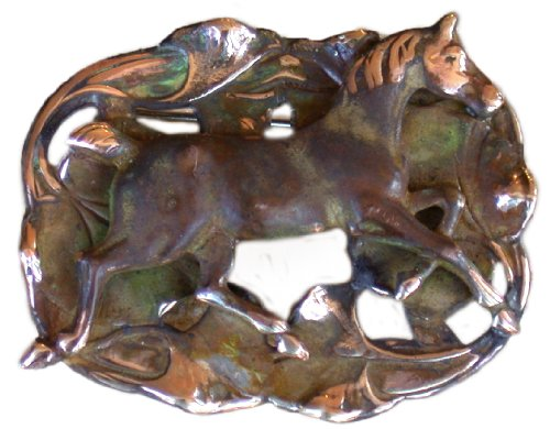 Earth Patina Brass Running Horse on Water Lilies Pin