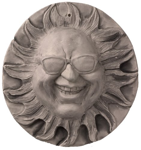 JBK 12 Inch Ceramic Mr Shades Sun Face, Antique White