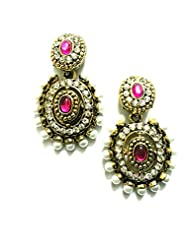 Ethnic Fashion Earrings With Pearl And Coloured Crystals In Gold Finish, Pink