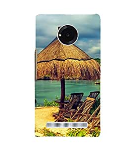 two reclining chairs on a beach 3D Hard Polycarbonate Designer Back Case Cover for YU Yunique::Micromax Yunique