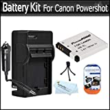 Battery And Charger Kit For Canon PowerShot A3300 IS, A2200 IS, A3100 IS A3000IS Digital Still Camera Includes Extended (1000 Mah) Replacement Battery For NB-8L + AC/DC Travel Charger + Screen Protectors + Mini Tabletop Tripod + MicroFibler Cleaning Cloth