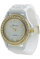 Geneva Platinum Women's 6886.WHT White Silicone Quartz Watch with White Dial