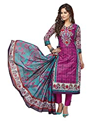 PShopee Purple Karachi Cotton Printed Unstitched Salwar Suit Dress Material