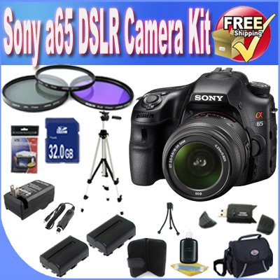Sony A65 24.3 MP Translucent Mirror Digital SLR With 18-55mm Lens + 32GB SDHC Memory + 2 Extended Life Batteries + Ac/Dc Charger + SDHC Card Reader + Deluxe Case w/Strap + 3 Piece Filter Kit + Full Size Tripod + Memory Card Wallet + Mini Tripod + Accessory Saver Bundle!