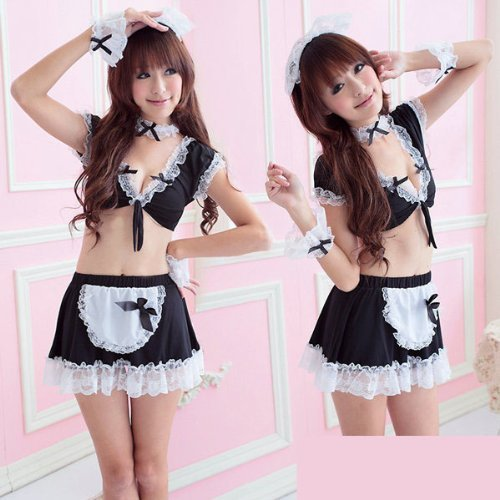 MA01009BK Naughty Lingerie Party Cosplay Halloween Costume Maid Apron Dress Outfit