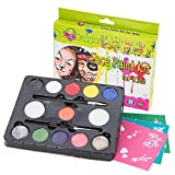 Face Paint Kit For Kids & Halloween By Bo Buggles: 30 Stencils 11 Colors (2 Glitters) 2 Brushes 2 Sponges. Safe Non Toxic Palette. Pro Quality Face Painting Party Set + Bonus Ebook. Join The Bug Club!