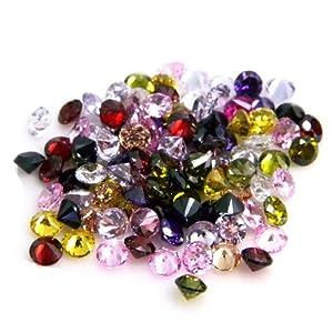 Beta Jewelry 5mm Round CZ Multicolor Mix Cubic Zirconia Loose Gemstones Lot (50 pieces)