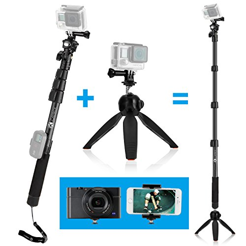 CamKix® discount duty free CamKix Premium 3in1 Telescopic Pole 16 - 47 Inch and Tripod Base Kit for GoPro Hero 4, Session, Black, Silver, Hero+ LCD, 3+, 3, 2, 1, Camera and Smartphone - Strong Lock System - Elevate 47 Inch