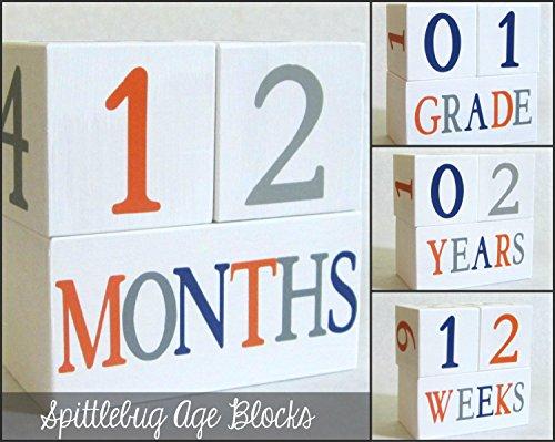 Baby Age Blocks: Shower Gift, Photo Prop & Nursery Decoration - Spittlebug Age Blocks front-178878