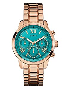 GUESS Women's Turquoise and Rose Gold-Tone Feminine Classic Sport Watch