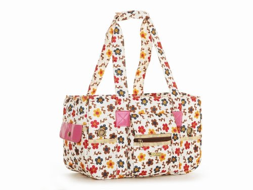 Colors Flowers Dog Travel Bag Dog Totes Carriers Cat Handbag Doggy Purse Puppy Pouch