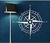 Compass Contempory Style North South East West Wall Stickers Living Room Decorative Art Decal Vinyl 57cm High, 57cm Wide White Color