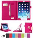 iPad 6 (iPad Air 2) Case Cover, FYY® Premium Leather Case Stand Cover with Card Slots, Pocket, Elastic Hand Strap and Stylus Holder for iPad 6 (iPad Air 2) Magenta (With Auto Wake/Sleep Feature)