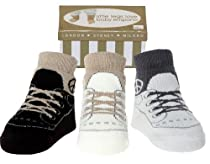 Baby Emporio -0-9 Months-Baby Boy Sneaker Socks-3 Pr-Keepsake Box-Anti-slip (PEACE)
