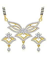 VK Jewels Classy Design Gold And Rhodium Plated Mangalsutra Pendant Set With Earrings For Women -MP1225G [VKMP1225G]